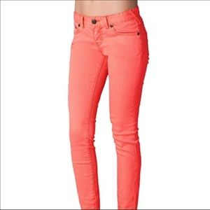 Free People Coral Skinny Red Orange Jeans Size 25